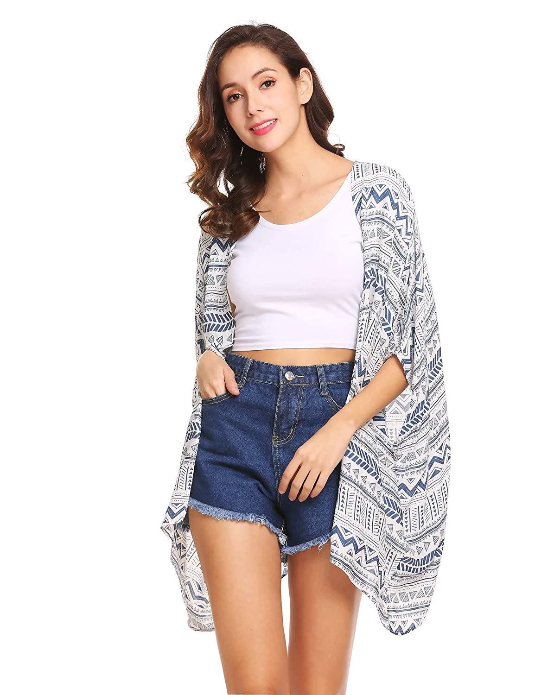 Meaneor Damen Sommer Boho Print Chiffon Kimono Cardigan Bikini Cover Up Strandkleid Strickjacke Geometrie Muster Streifen 3/4 Ärmel Beachwear offene Front Outfits Bademode Swimsuit S-XXL