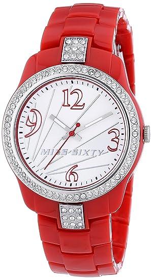 Miss Sixty Sra009 - Reloj para niñas de cuarzo, correa de plástico color rojo: Amazon.es: Relojes