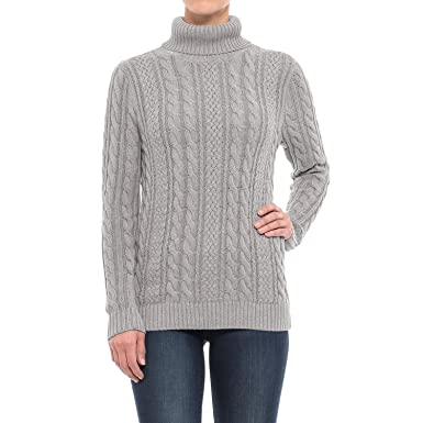 Jeanne Pierre Womens Fisherman Cable Knit Turtleneck Sweater At