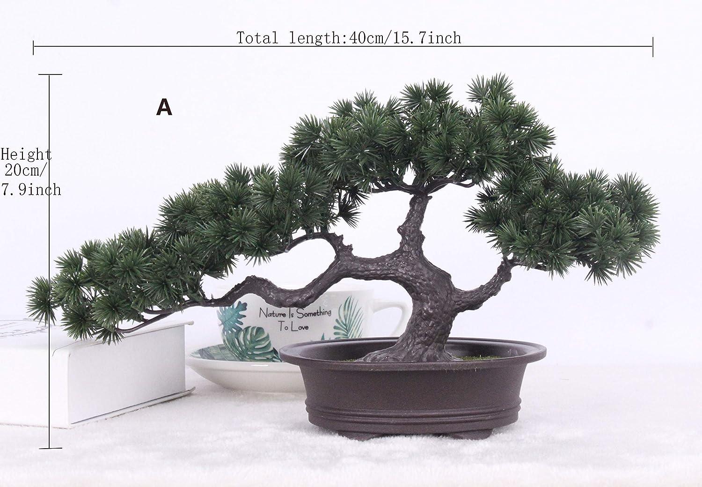 Amazon Com Simulation Bonsai Ornaments Fake Tree Potted Large Welcoming Pine Plastic Fake Potted Plant Simulation Pine Indoor Decoration Home Kitchen