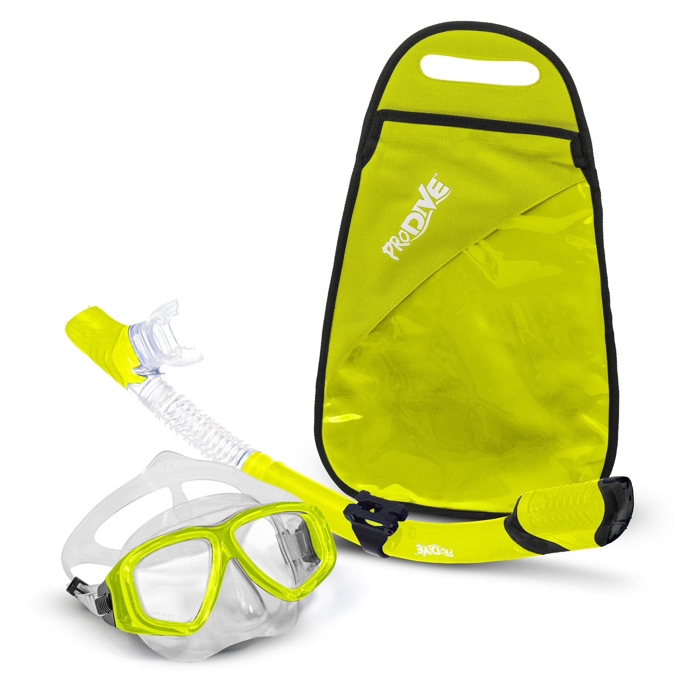 PRODIVE Premium Dry Top Snorkel Set - Impact Resistant Tempered Glass Diving Mask, Watertight and Anti-Fog Lens for Best Vision, Easy Adjustable Strap, Waterproof Gear Bag Included (Yellow)