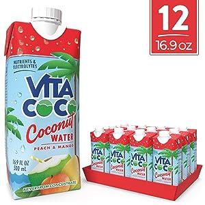 Vita Coco Coconut Water, Peach & Mango, 16.9 Oz (Pack Of 12)