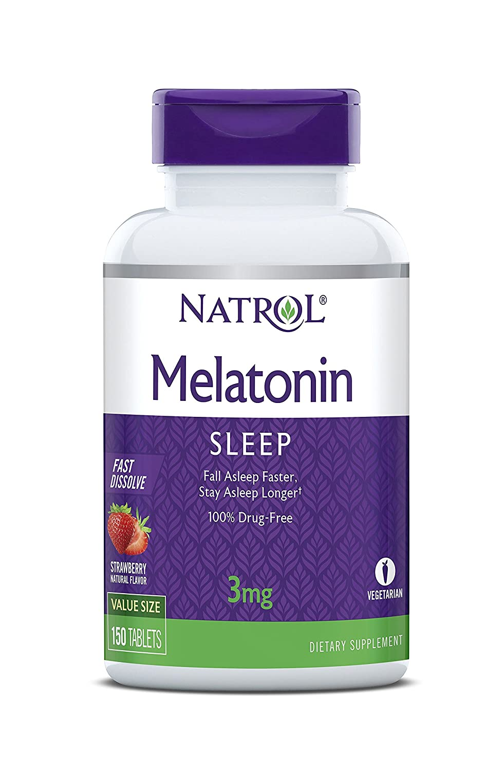 Natrol Melatonin Fast Dissolve Tablets, Helps You Fall Asleep Faster, Stay Asleep Longer, Easy to Take, Dissolves in Mouth, Faster Absorption, 3mg, 150 Count