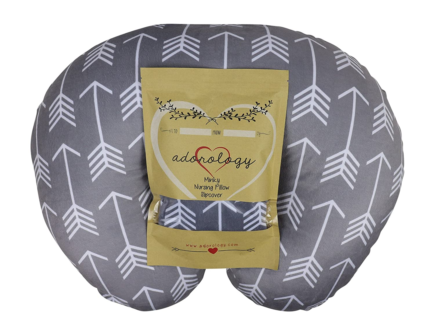 Minky Nursing Pillow Slipcover | Gray Arrow Design | Infant Breastfeeding Soft Pillow Cover | Great Baby Shower Gift for Any Mom to Be by Adorology