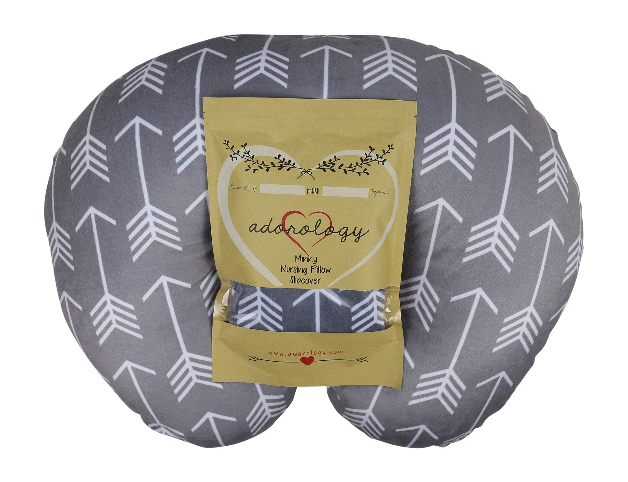 Minky Nursing Pillow Slipcover | Gray Arrow Design | Infant Breastfeeding Soft Pillow Cover | Great Baby Shower Gift for Any Mom to Be by Adorology by Adorology