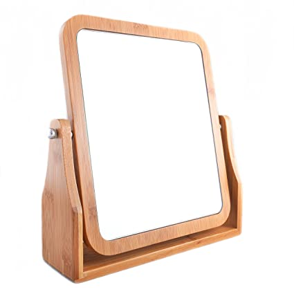 Charmant Refine Bamboo Vanity Mirror, 360 Swivel, Dual Sided 1x/3x Magnification For