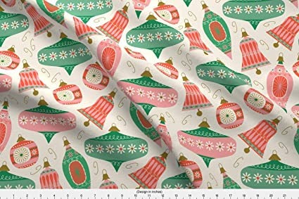 spoonflower christmas fabric christmas ornaments baubles decorations holiday vintage bells by retrorudolphs printed on