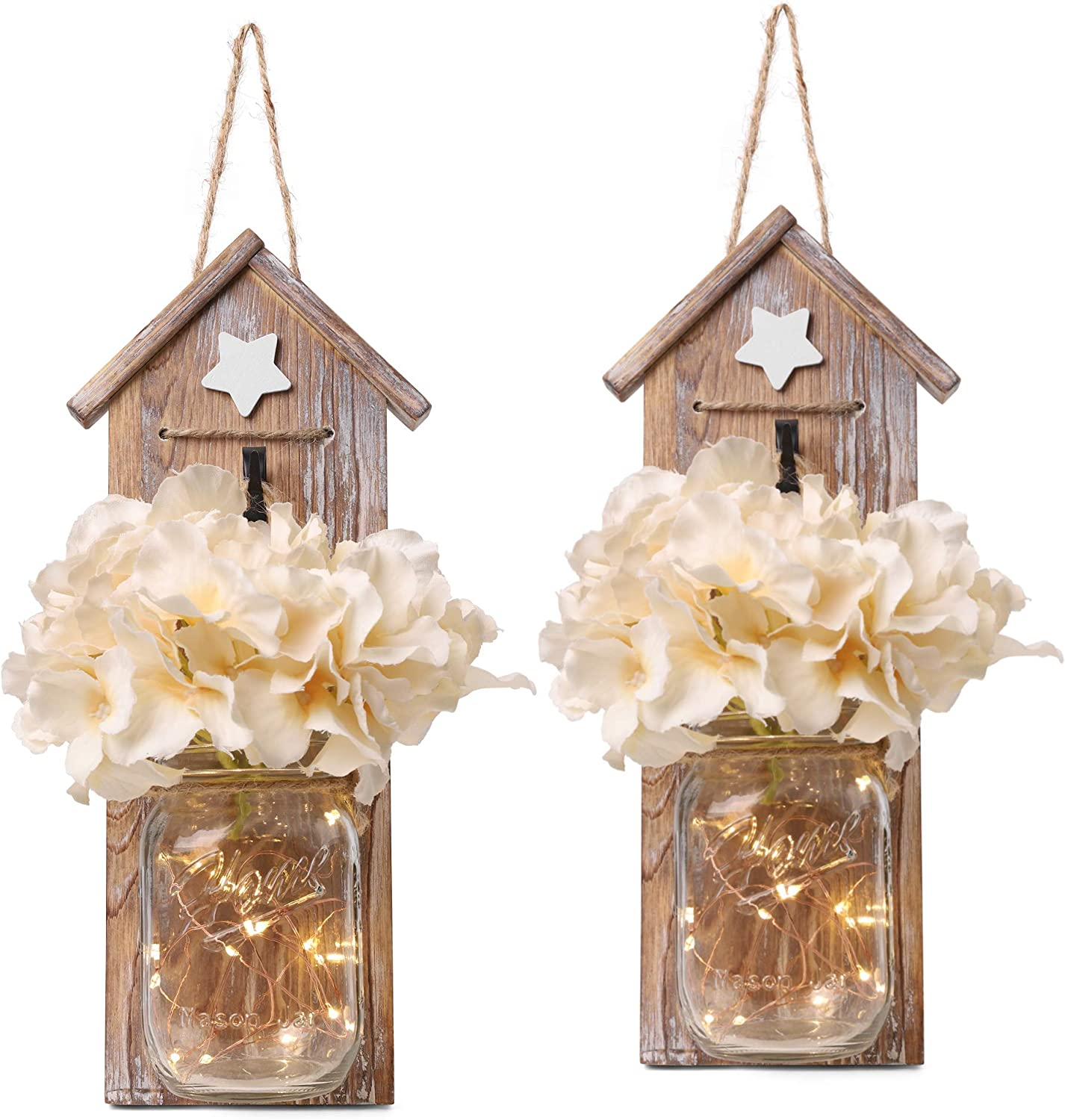 GBtroo Rustic Mason Jar Sconce Set of Two - Home Decor Hanging Wall Sconces Jars with LED Fairy Lights for Kitchen, Bathroom, Bedroom Decoration - Vintage, Brown Farmhouse Decorations