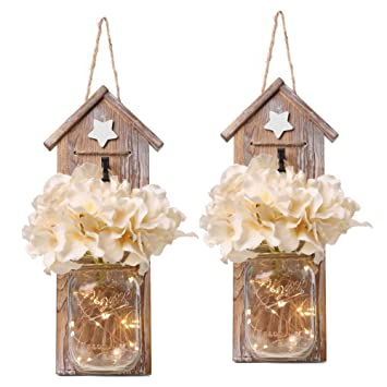 Gbtroo Rustic Mason Jar Sconce Set Of Two Home Decor Hanging Wall Sconces Jars With Led Fairy Lights For Kitchen Bathroom Bedroom Decoration