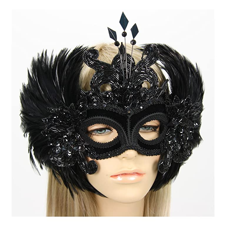 Masquerade Ball Clothing: Masks, Gowns, Tuxedos Handmade in the USA Masquerade Mask with Feather Wings Black $189.99 AT vintagedancer.com