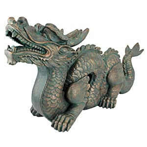 Design Toscano Asian Dragon of The Great Wall Garden Statue, Large, 29 Inch, Polyresin, Bronze Verdigris Finish