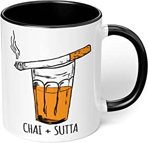 "1 Mug -""Chai Addict's Mug"" Hand Illustrated Desi Fun Mug - Perfect for your cuppa Coffee, Tea, Karak, Milk, Cocoa or whatever Hot or Cold Beverage you Drink! - 11 Oz - Black Handle & Inside Colour"