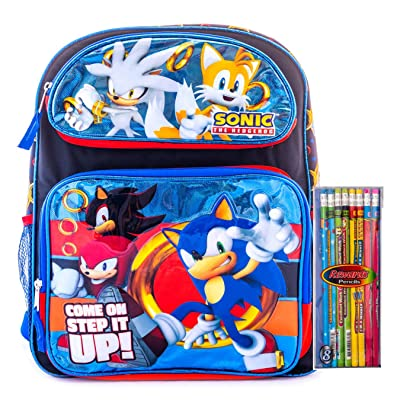 Sonic The Hedgehog Backpack School Bag Travel Game Bag with Stationary Supply (12 inch Sonic) | Kids' Backpacks