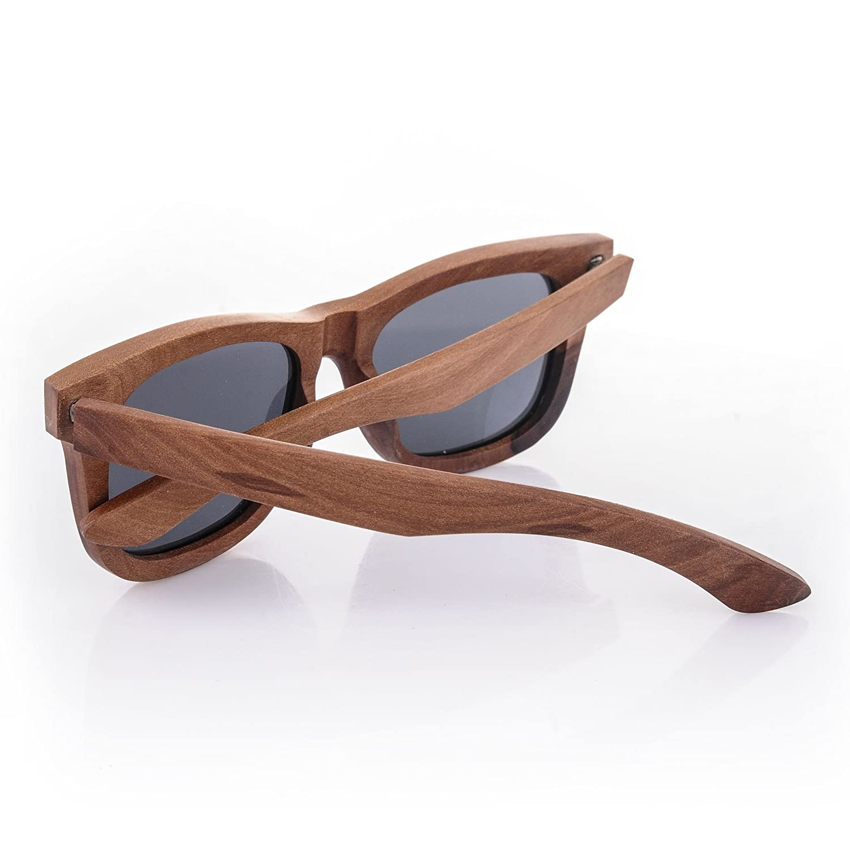 Unisex specchio Uomo Dona Legno Bambù Occhiali Da Sole rispecchiata Sunglass Protezione UV (Legno Scuro) MFAZ Morefaz Ltd ydrJZDzfz