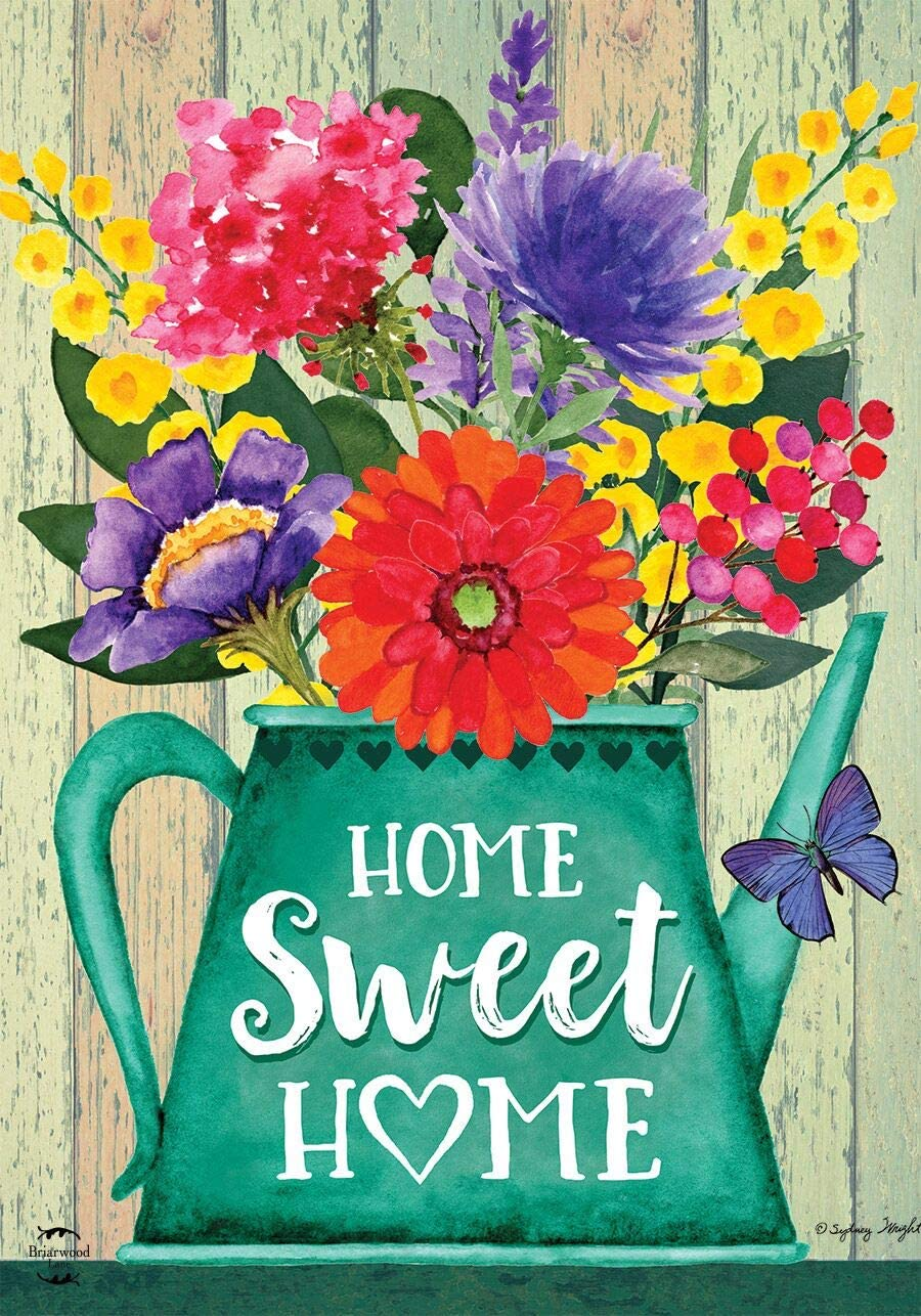 Briarwood Lane Home Sweet Home Spring Garden Flag Rustic Watering Can Floral 12.5
