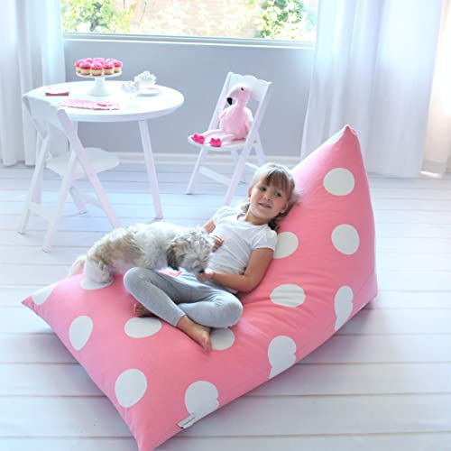 Butterfly Craze Stuffed Animal Storage Bean Bag Chair Cover Stuff n Sit Toy Bag Floor Lounger for Kids, Teens and Adult Extra Large 200L 52 Gal Capacity Premium Cotton Canvas Pink Polka Dot
