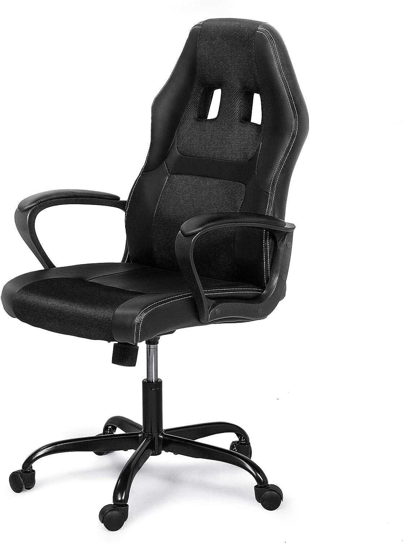Furniture of America Essen Black Ergonomic PU Leather Computer Chair