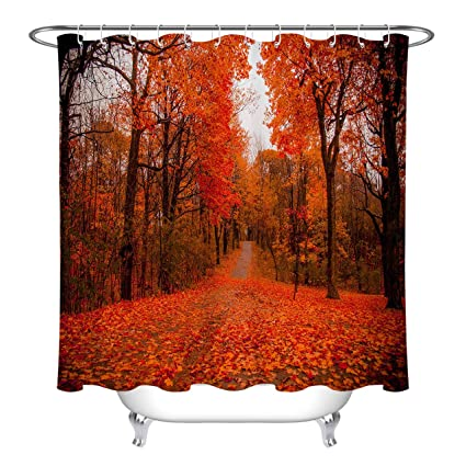 LB Red Tree Shower CurtainFall Theme Romantic Scene Fall Leaves Curtains