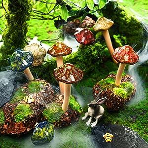 8 Pieces Ceramic Mushroom Figurine Garden Ceramic Mushroom Statue Garden Pot Decoration Lawn Ornaments for Outdoor