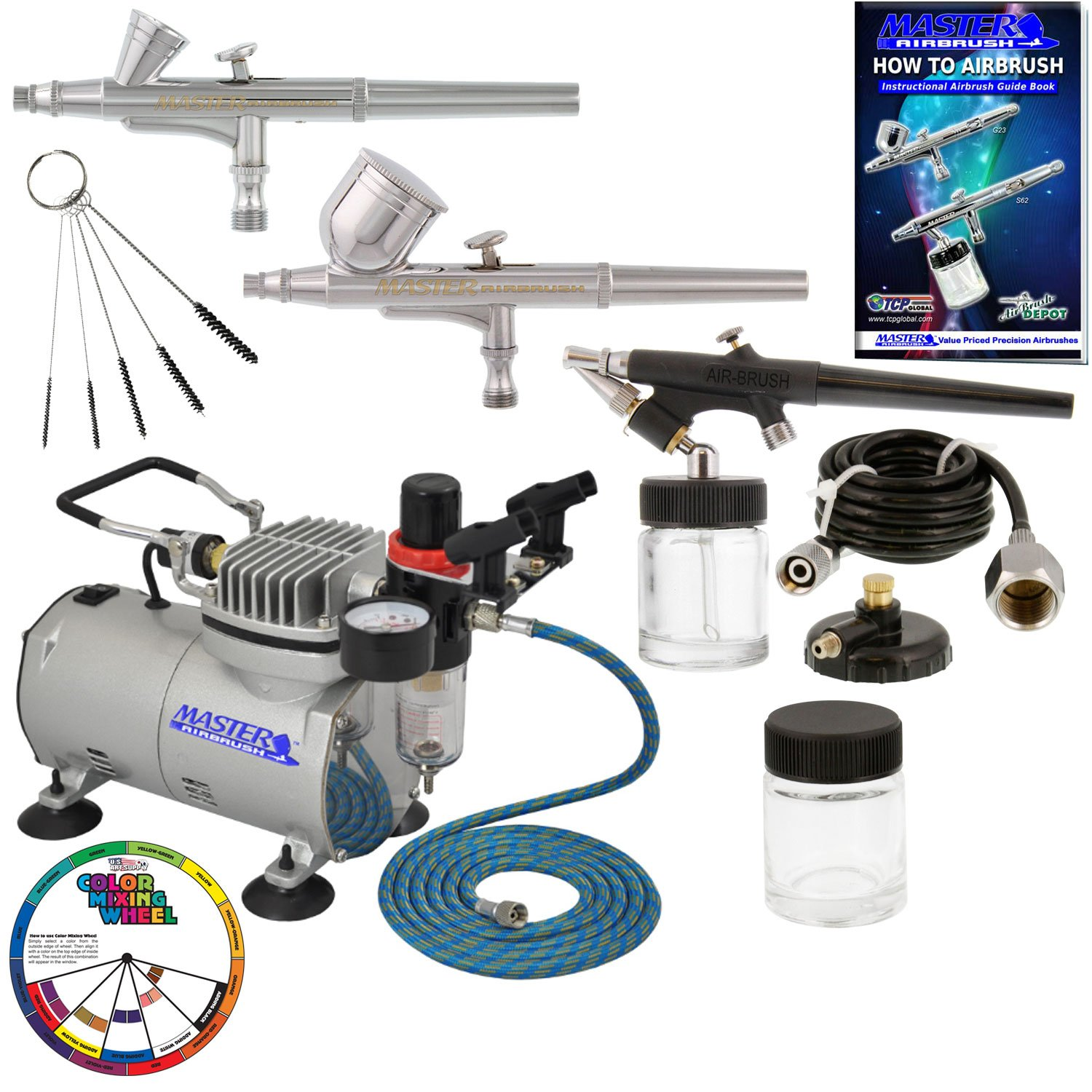 3 Master Airbrush Professional Airbrushing System Kit - Multi-Purpose G22, G25, E91 Gravity & Siphon Feed Airbrushes, Air Compressor, Holder, Color Mixing Wheel, Cleaning Brushes, How-To Guide Booklet by Master Airbrush (Image #7)