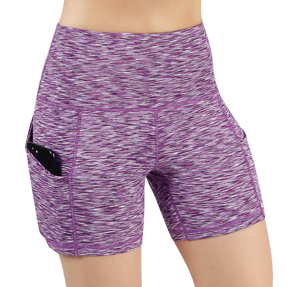 Yogapocketshots525spacedyepurple ODODOS High Waist Out Pocket Yoga Short Tummy Control Workout Running Athletic Non SeeThrough Yoga Shorts