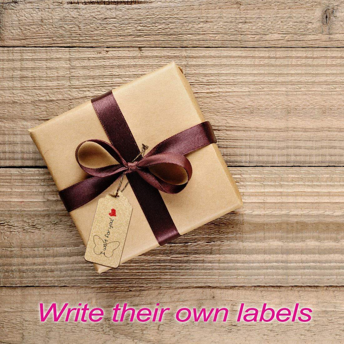 boda 100 etiquetas de papel Kraft Craft para colgar etiquetas de Navidad Etiquetas de regalo con cuerda de 20 m