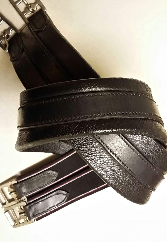 Tack Eq Soft Single Side Elasticated Leather Girth (44, Black)