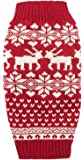 Dog Reindeer Holiday Pet Clothes Sweater for Dogs Puppy Kitten Cats, Classic Red