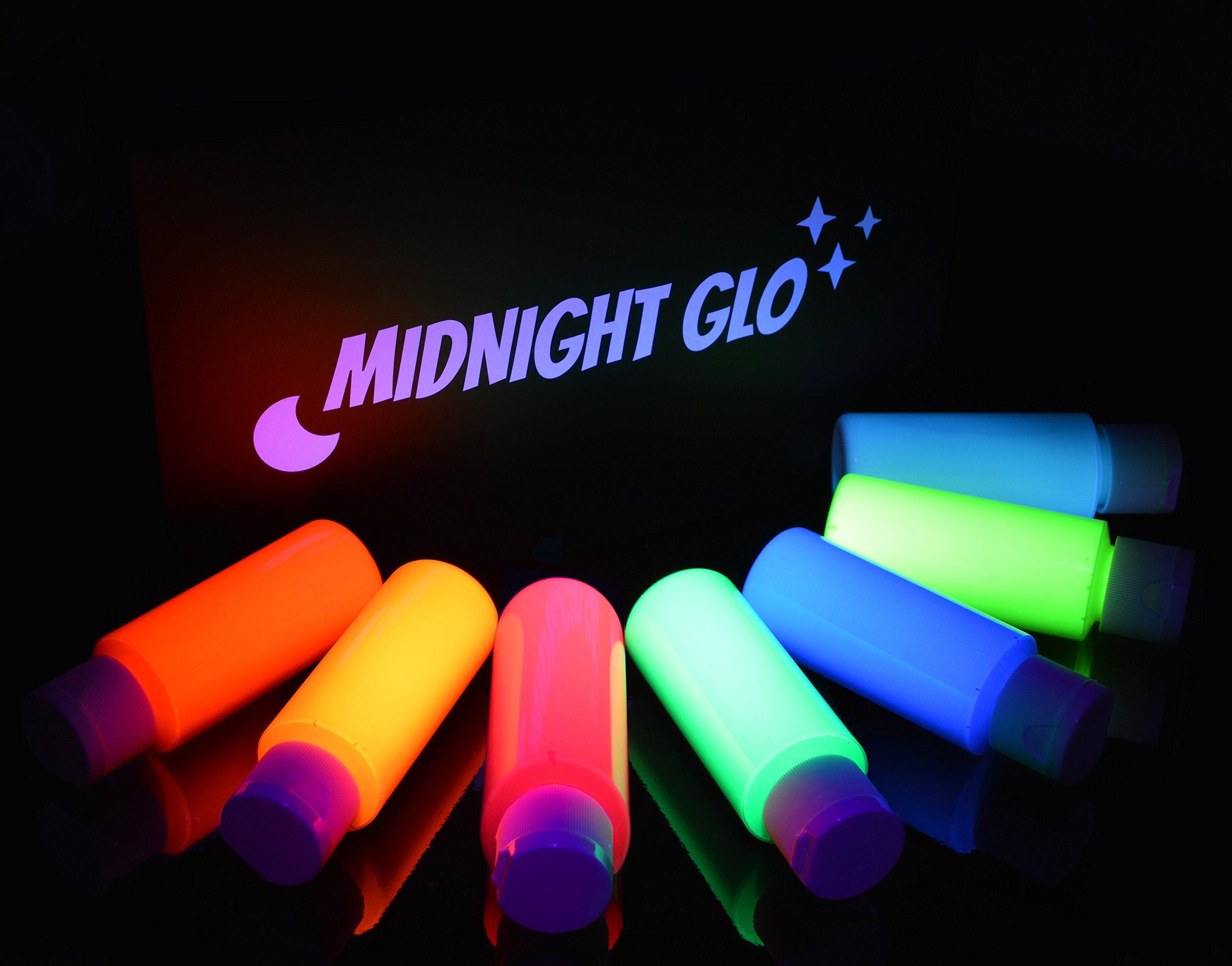 UV Neon Face & Body Paint Glow Kit - Top Rated Blacklight Reactive Fluorescent Paint - Safe, Washable, Non-Toxic, (7 Bottles 2 oz. Each) - 21 LED UV Flashlight - Bonus Paint Brush Set! Midnight Glo by Midnight Glo