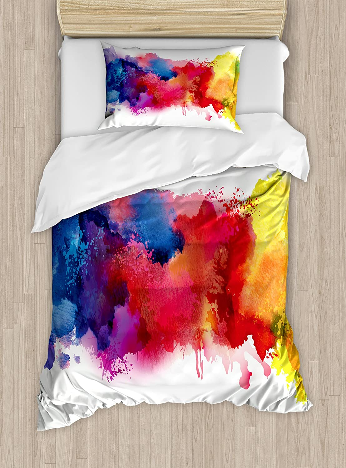 Ambesonne Abstract Duvet Cover Set Twin Size, Vibrant Stains of Watercolor Paint Splatters Brushstrokes Dripping Liquid Art, Decorative 2 Piece Bedding Set with 1 Pillow Sham, Red Yellow Blue