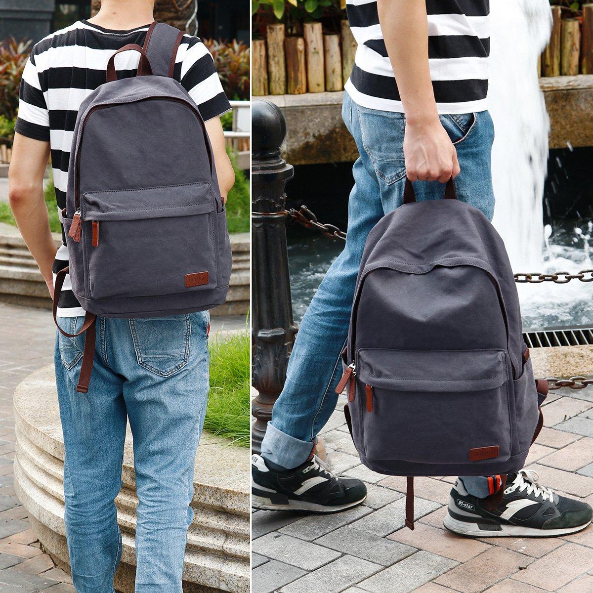 ibagbar Classic Lightweight Canvas Backpack Daypacks Dark Gray