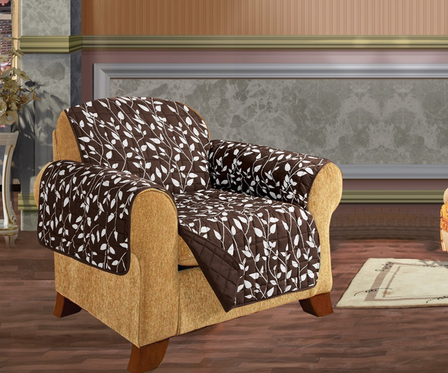 Quilted Pet Dog Children Kids - FURNITURE PROTECTOR- Microfiber Slip Cover Chocolate Chair Leaf Design