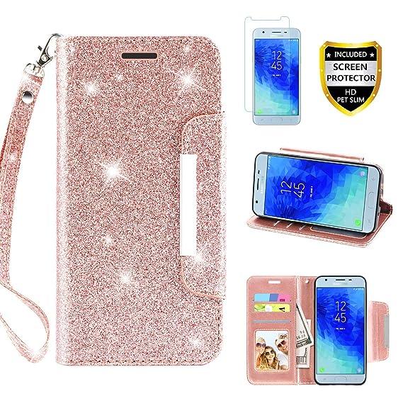 hot sale online a27f5 050b9 Samsung Galaxy J3 Achieve Case, J3 Star/ J3 V 3rd Gen /J3 Orbit/J3 Express  Prime 3/J3 2018/Sol 3/Amp Prime 3 Wallet Phone Case with Screen Protetor ...