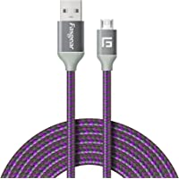 Micro USB Cord (2m), 1 Pack Fasgear Nylon Braided Tangle-Free Fast Charging Data Line with Metal Connector for Samsung Galaxy S7/S7 Edge, S6 and More (2m, Purple)