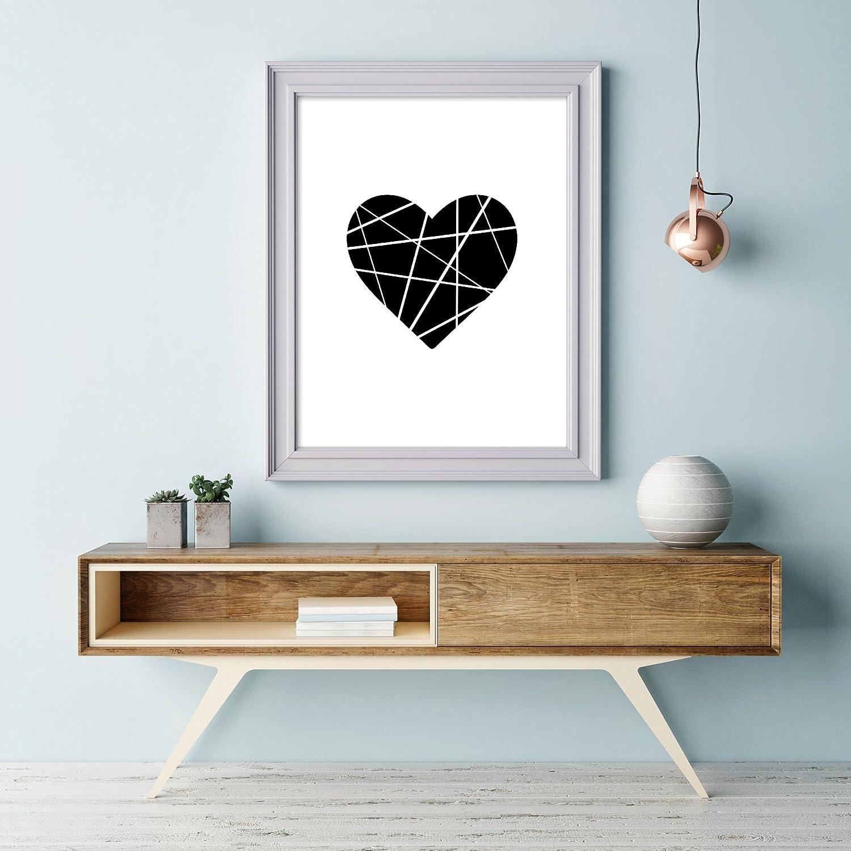 Origami Herz Kunstdruck Schwarz Poster FineArt Druck Print Black Heart Wandbild