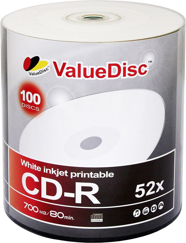 Value Disc Cd R 80min 700mb 52x White Inkjet Printable 100 Pack