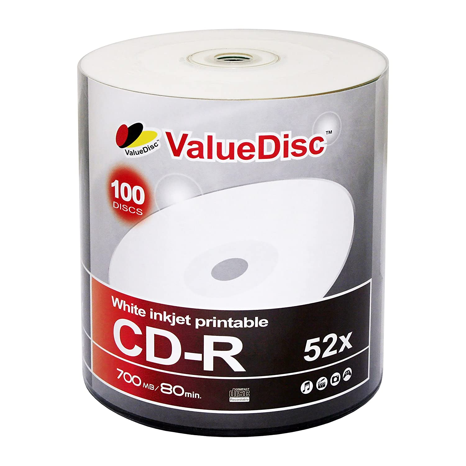 Value Disc CD-R 80min 700MB 52X White Inkjet Printable 100 Pack VDCDIP100DW