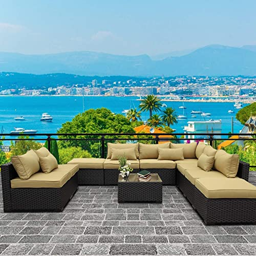 VALITA Patio PE Wicker Furniture Set 10 Pieces Outdoor Black Rattan Sectional Conversation Sofa Chair
