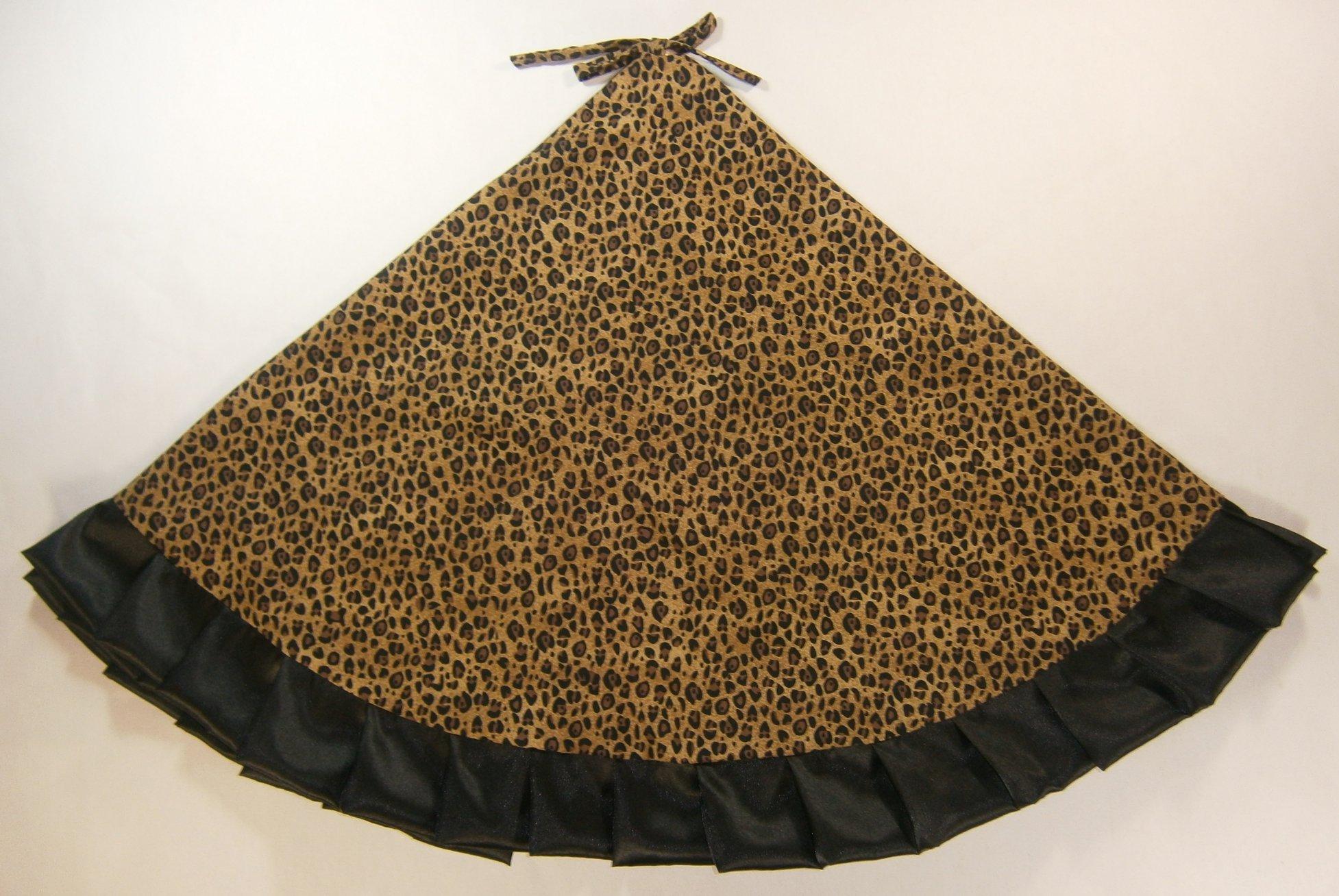 Arkansewn Christmas Tree Skirt, 47'', Leopard/Animal Print