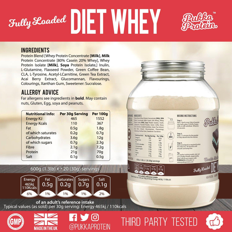 PUKKA PROTEIN - Proteína de Suero de Leche en Polvo Para Dieta Deliciosa - Sabor a Brownie con Chocolate y Menta, Baja en Grasas, Alto Contenido Proteico ...