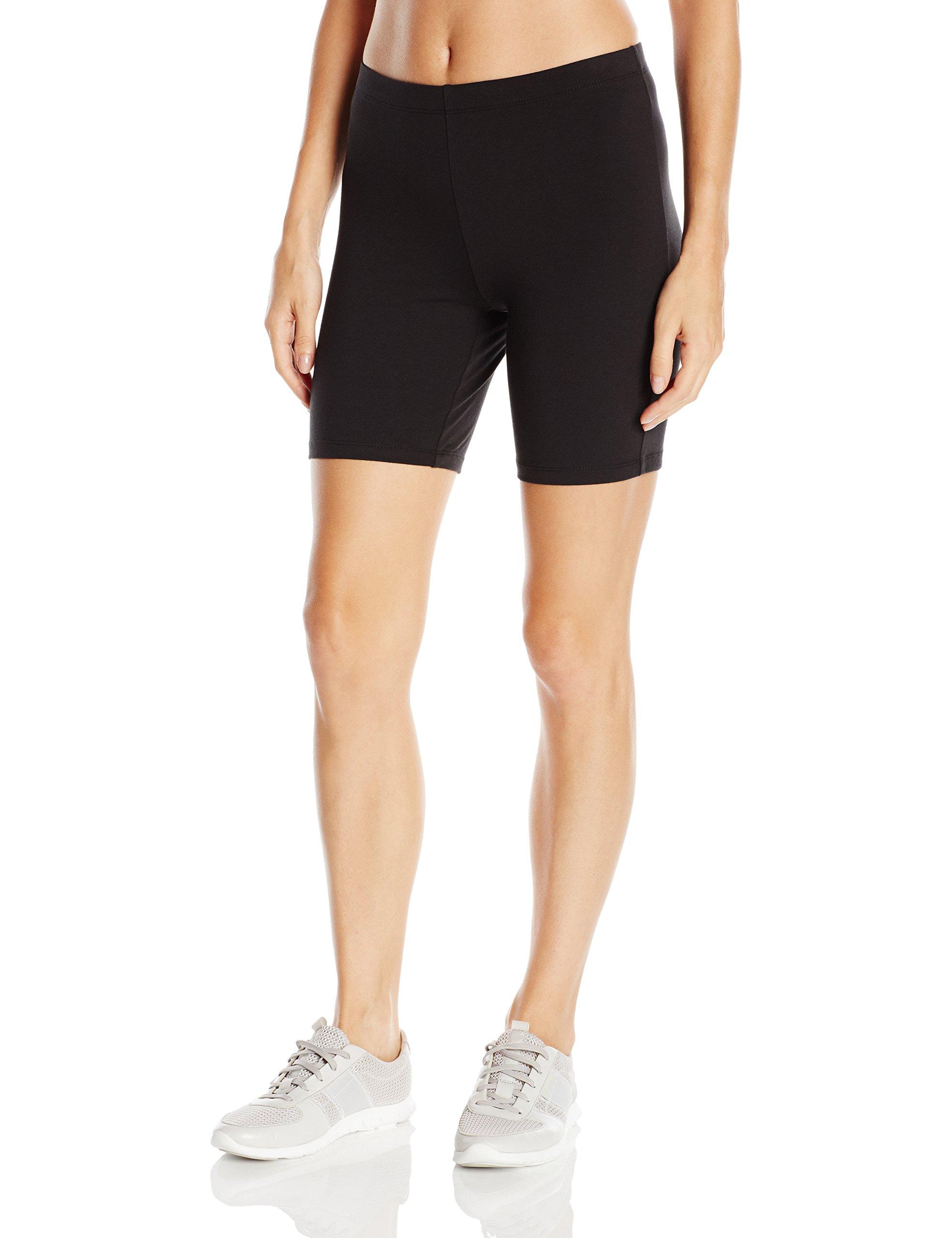 Hanes Women's Stretch Jersey Bike Short, Black, Medium