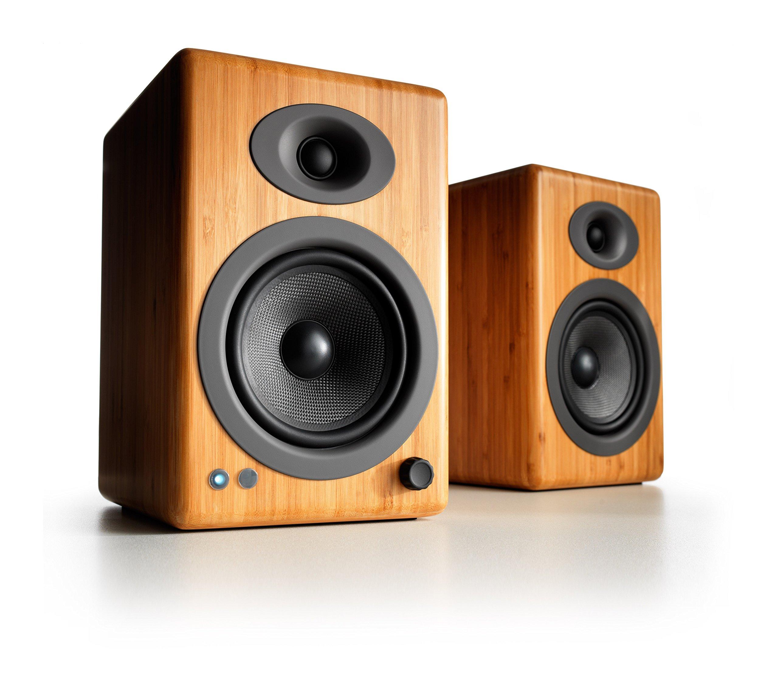 Audioengine A5+ Wireless Bookshelf Speakers. Stream Pandora, Spotify, Tidal or your favorite app with aptX HD in High Resolution (Bamboo)