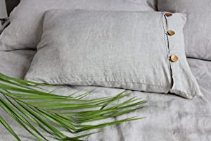 Cottage Chic Natural Linen Pillow Sham with Side Wooden ButtonsDecor - Standard, Queen, King, Euro Sizes -Natural, White or Grey Colors