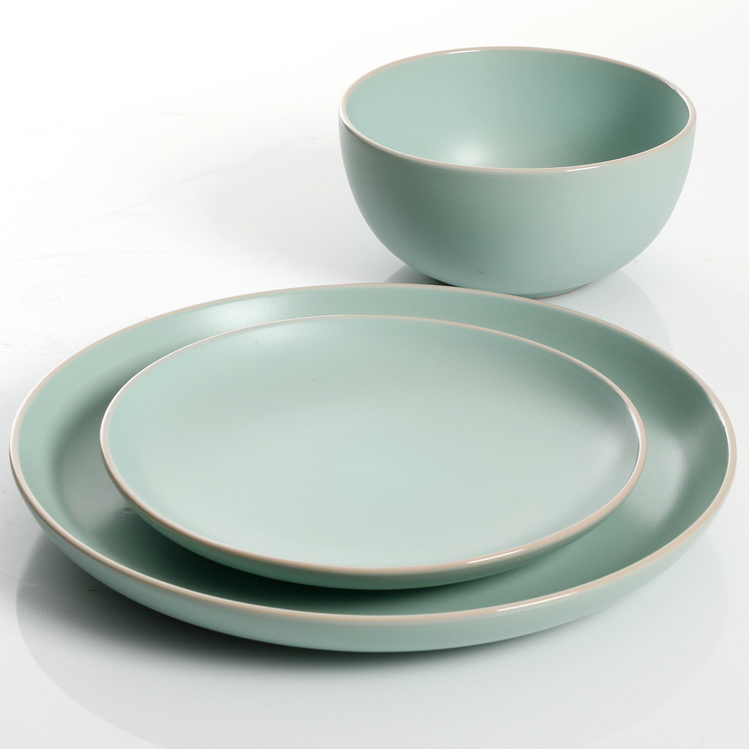 Gibson Home Rockaway 12-Piece Dinnerware Set Service for 4, Teal Matte by Gibson Home (Image #4)