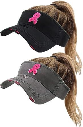 1333398f08cc9 Amazon.com  H-201-2-BCR0621 Ponytail Visor 2-Pack  Breast Cancer ...