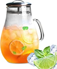 NorthStar Bay 64 oz glass water pitcher with filter lid and spout - hand blown heat resistant borosilicate glass-bpa free-iced tea, lemonade, cocktail and fruit infusion juice - serving hot & cold