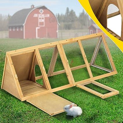 Superworth Triangle - Jaula de madera para conejo, cobaya, cerdo ...