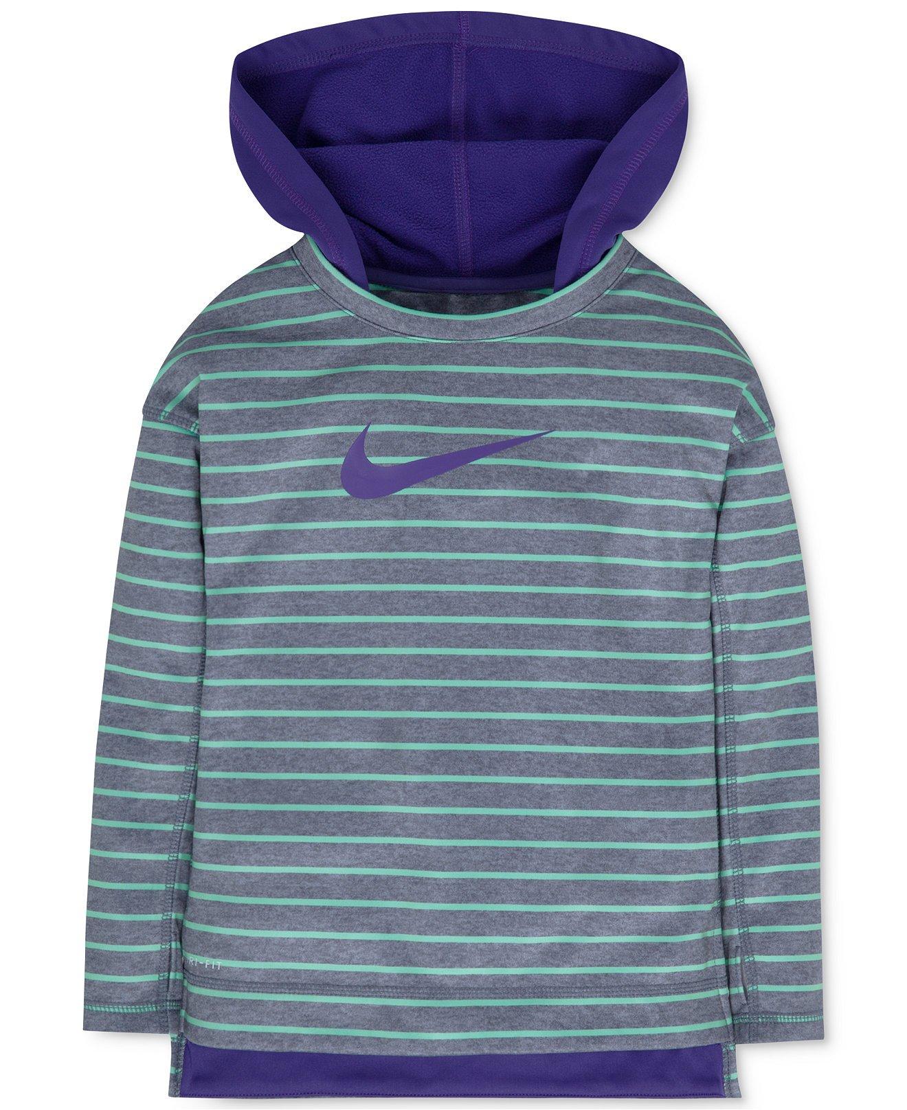 Nike Girl Striped Hoodie Size 5 Dark Iris