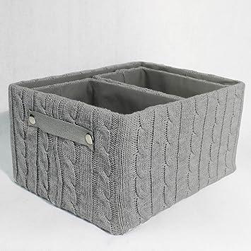 Uberlegen Aufbewahrungskorb Korb Strick 3er Set Wählbar In Grau, Rosa Oder Weiss,  Farbe:Grau