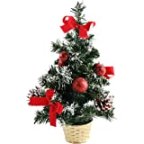 Athoinsu 12'' Mini Christmas Tree Table Top Artificial Handmade Xmas Holiday Desk Decorations Party Favor, 12''